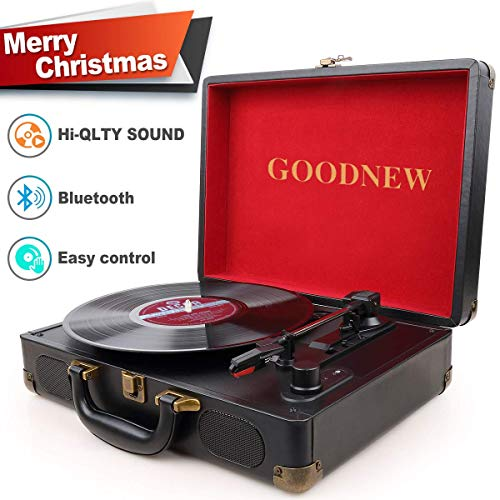 GOODNEW Vinyl Record Player Turntable, 3-Speed Portable Stereo Turntable with Built in Speakers,Support Headphone & RCA Output and AUX Input Jack (01)