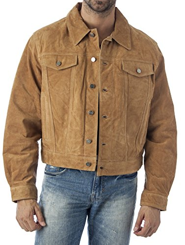 Suede Shirt Jacket (Reed's Men's Western Jean Style Suede Leather Shirt Jacket (XL, CAMEL))