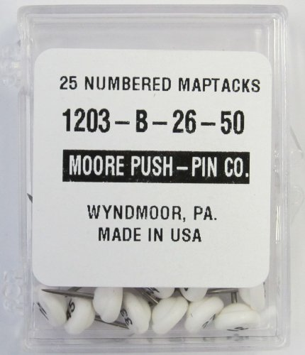 Moore Push-Pin 1203-B-26-50 Numbered Map Tacks, White, 25 Tacks per - Pins Number