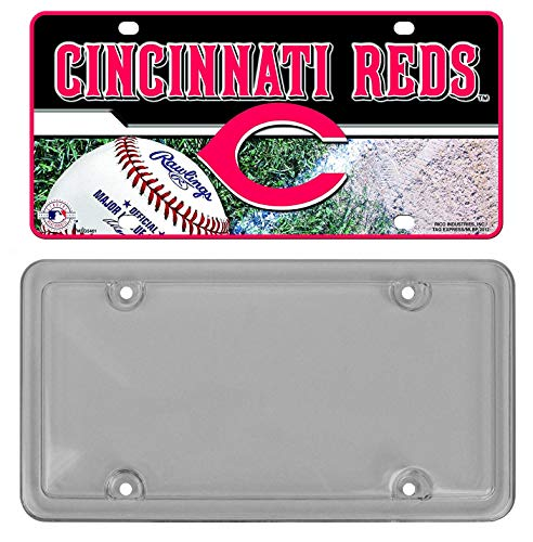 Rico Industries Officially Licensed MLB Team Metal License Plates Bundle with Custom Accessories Smoke License Plate Protector (Cincinnati Reds)