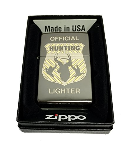 Zippo Custom Lighter - Official Hunting Badge - Regular Black Ice by Zippo