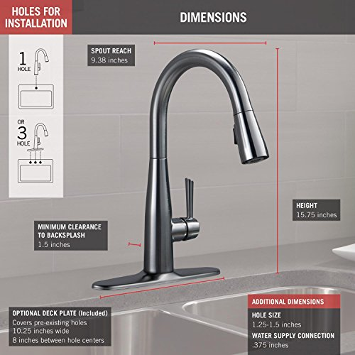 Delta Faucet Essa Single-Handle Kitchen Sink Faucet with Pull Down Sprayer and Magnetic Docking Spray Head, Arctic Stainless 9113-AR-DST