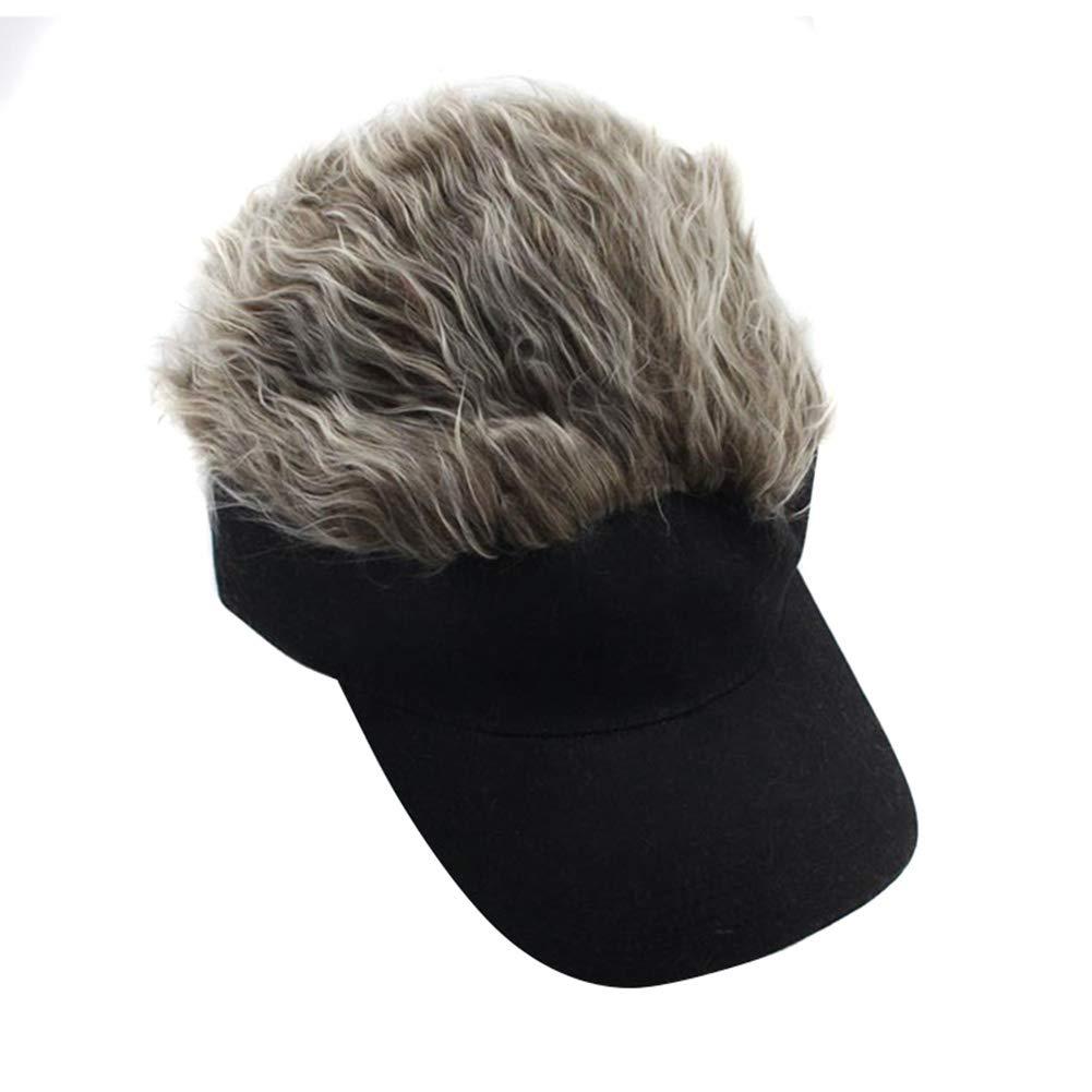 Teekit 1 Pcs Wig Baseball Hat Sun Visor Cap with Spiked Hair Winter Warm Outdoor Caps,Grey