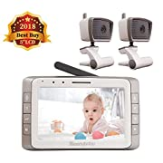 MoonyBaby 5  Large LCD Two Cameras Pack Video Baby Monitor Long Range with Automatic Night Vision & Temperature Monitoring, Two Way Talkback System (MANUALLY Rotated Camera)