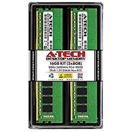 A-Tech 16GB (2x8GB) DDR4 2400MHz DIMM PC4-19200 UDIMM Non-ECC 2Rx8 1.2V CL17 288-Pin Desktop Computer RAM Memory Upgrade…