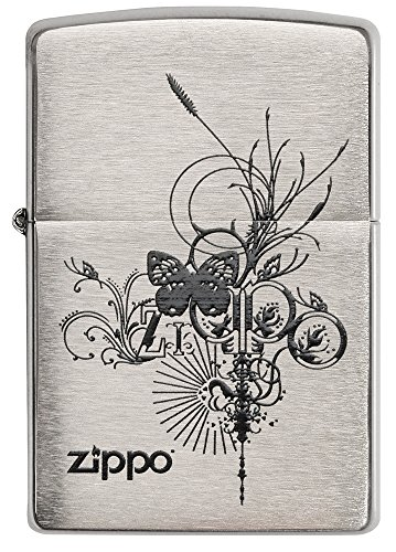 Zippo Butterfly Burst Pocket Lighter, Brushed Chrome