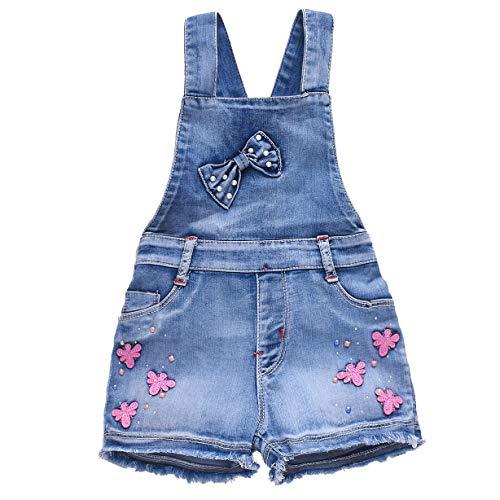 - YAO Summer Little Girls Cotton Dragonfly Denim Bib Braces Rompers(7T)