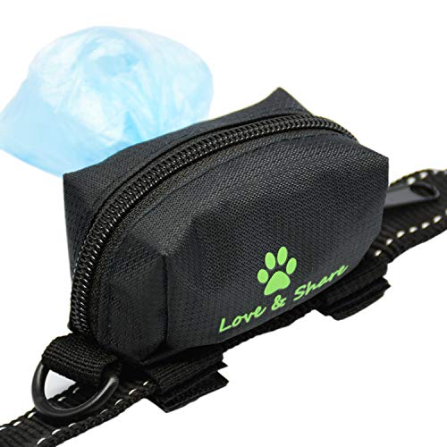 Dog Poop Bag Holder, Dog Poop Waste Bag Holder Dispenser for Leash, Dog Accessories – Black