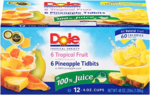 Dole 100% Juice Cups, Pineapple and Tropical Fruit, 4 Ounce, Pack of 12