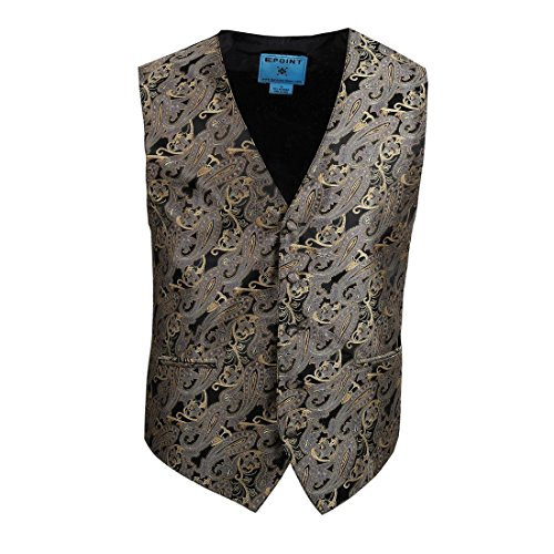 EGC2B02A-2XL Grey Beige Paisley Microfiber Black-Back Mens Tuxedo Vest Presents Idea For Halloween By (Halloween Ideas)