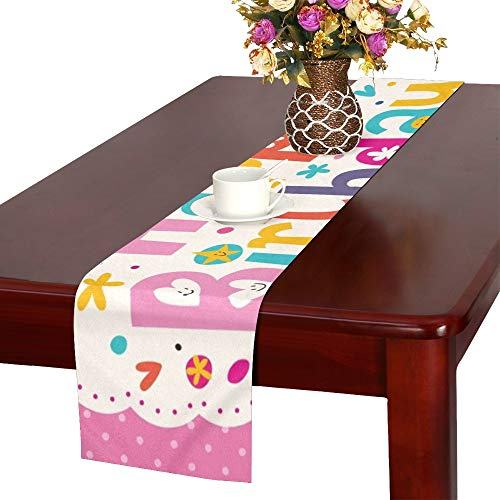 Happy Birthday Table Runner, Kitchen Dining Table Runner 16 X 72 Inch for Dinner Parties, Events, Decor ()
