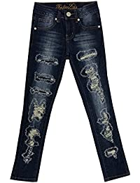 Girls Kids Stretch Pockets Skinny Denim Jeans Shorts (MLG1)