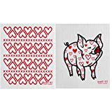 Wet-It Swedish Dishcloth Set of 2 - Hearts and Pig with Heart Pattern - NEW