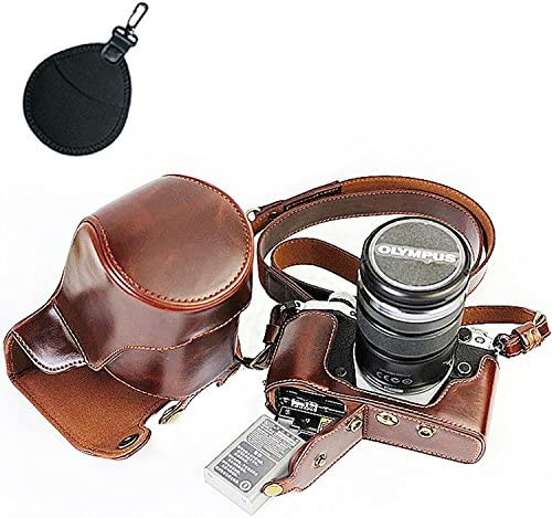 First2savvv XJD-EM5II-HH10UV dark brown Premium quality full body Precise Fit PU leather digital camera case bag cover with should strap for Olympus OM-D E-M5 Mark II EM5 Mark 2.12-40mm and 40-150mm Lens UV lens bag