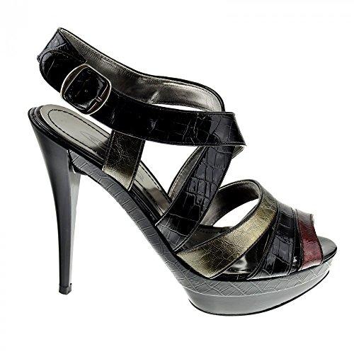 Womens Plattform Mode Schuhe High Heel Party Ankle Strap Sandalen Schwarz