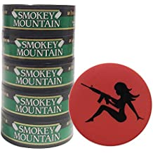 Smokey Mountain Herbal Chew or Snuff Wintergreen Pouch - 5 Cans - Includes DC Skin Can Cover (Mud Flap Skin)