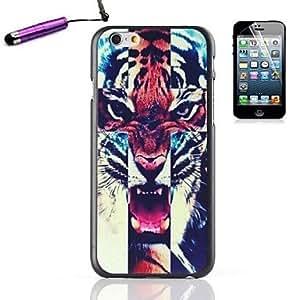 MOFY- feroz tigre patr—n de pl‡stico duro de la contraportada para el stylus iphone 6 m‡s