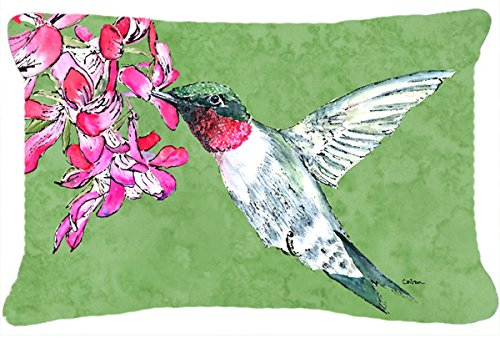 Caroline's Treasures 8886PW1216 Hummingbird Canvas Fabric Decorative Pillow, 12H x16W, Multicolor - Indoor or outdoor pillow from heavyweight canvas material. 100% polyester fabric pillow sham with pillow form. Fade resistant. - patio, outdoor-throw-pillows, outdoor-decor - 51KDb9YLsUL -