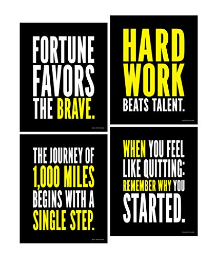 Set of 4, 8 x 10 Inch Motivational, Inspirational Posters / Prints for Goal and Success, Hard Work, Journey, Quitting, Brave.