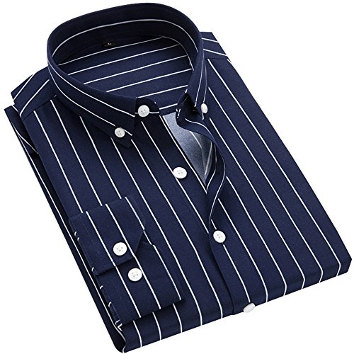 DOKKIA Men's Casual Long Sleeve Vertical Striped Slim Fit Dress Shirts (Navy Blue White, Large)