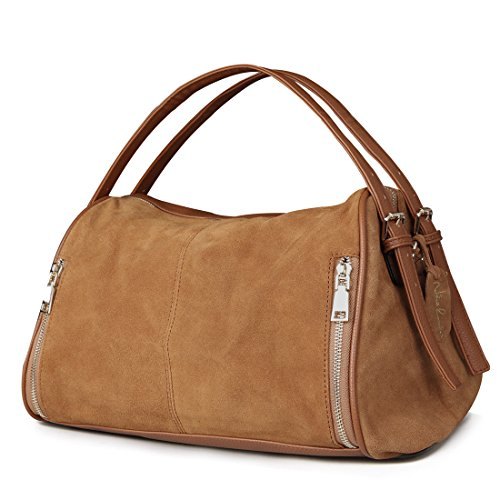 Nico Louise Women Boston Bag Genuine Suede Leahter Shoulder Travel Bag Casual Handbag (Yellow Brown)