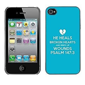 Paccase / Dura PC Caso Funda Carcasa de Protección para - BIBLE He Heals Brokend Hearts And Binds Up Wounds - Psalm 147:3 - Apple Iphone 4 / 4S
