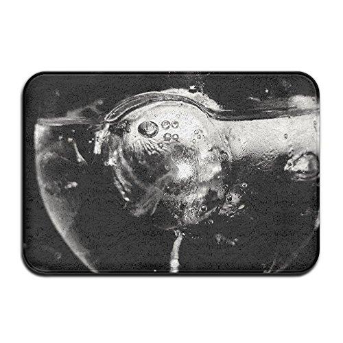 Homlife Rectangle Thin Doormats Grayscale Photo of Water Wine Glass Entrance Mat Non-Slip Indoor Outdoor Area Rug Bathroom Mats Coral Fleece Home Decor by Homlife