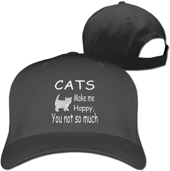 Baseball Caps Cats Make Me Happy Golf Dad Hat Mens Womens Vintage Snapbacks  Hats Black B518 at Amazon Women s Clothing store  b3a49ed519