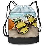 Sport Unisex Bundle Drawstring Backpack Pineapple In Sunglasses Travel Durable Large Space Gym Sack Fantastic Waterproof Multifunction School Backpack