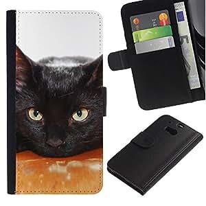 EuroCase - HTC One M8 - black cat pet feline house nebelung - Cuero PU Delgado caso cubierta Shell Armor Funda Case Cover