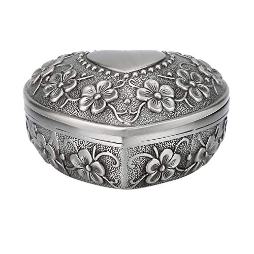 Vintage Jewelry Box Metal Heart Shape Carved Flower Antique Necklace Earring Storage Organizer -
