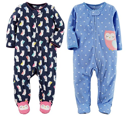 Carters Baby Toddler Girls 2 Pack Fleece Footed Pajama Sleep and Play Set (6 Months, Zipper Closure - Navy Owls and Blue Dot Owl)
