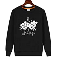 YEMOCILE Women's Funny Graphic Bee The Change Letter Print Long Sleeve Pullover Sweatshirt