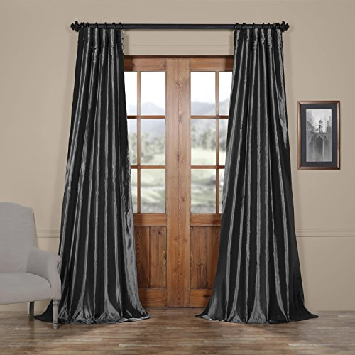 Half Price Drapes PTCH-JTSP005-120 Faux Silk Taffeta Curtain, Graphite