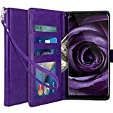 Galaxy Note 8 Case, LK [Wrist Strap] Luxury PU Leather Wallet Flip Protective Case Cover with Card Slots and Stand for Samsung Galaxy Note 8 (Purple)