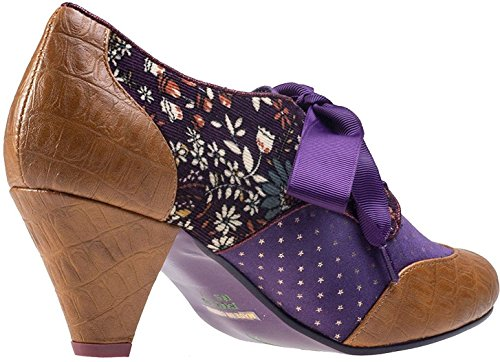 Poetic Licence End of Story Tan Lila Damen Leder Schuhe Stiefel