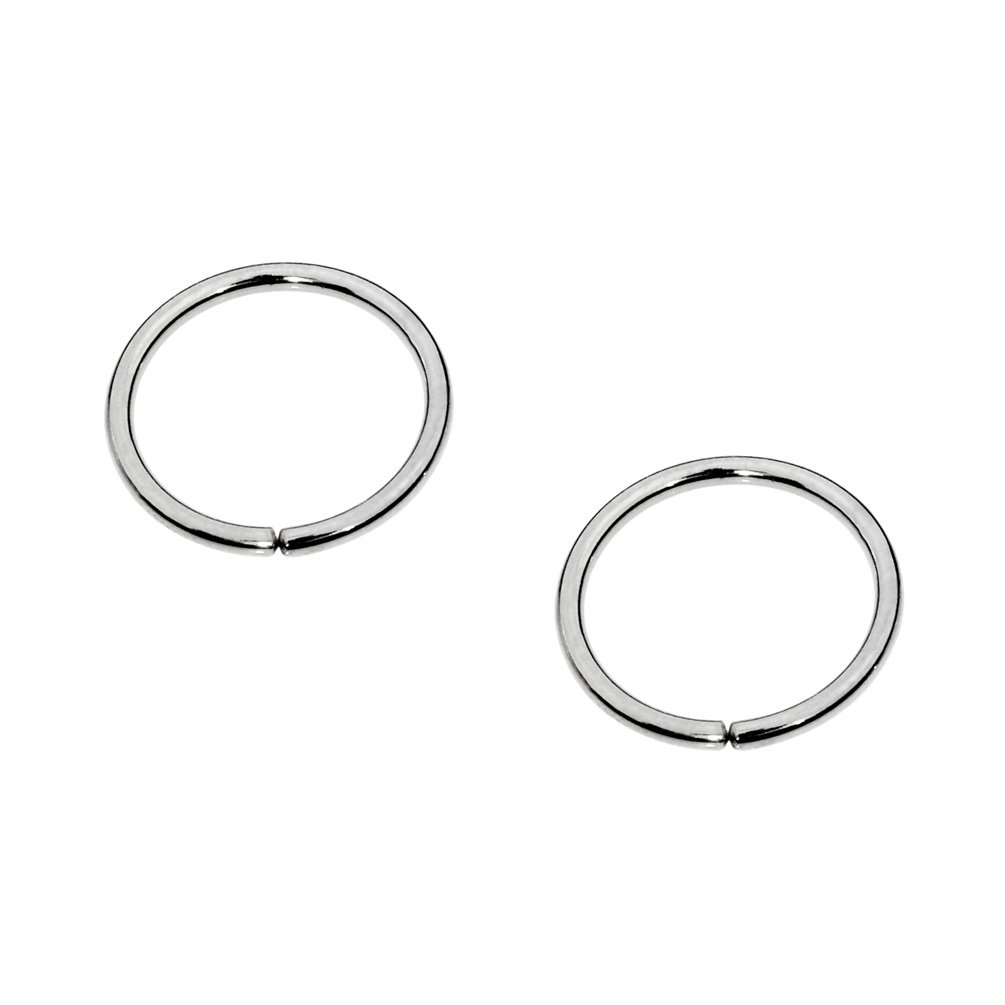 Sampson Nose Ring Hoop - One Pair - Tragus Cartilage Helix Earring - Sterling Silver - 20 Gauge 7mm Inner Diameter