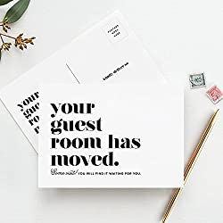 Moving Announcement Postcards, Your Guest Room Has Moved, Just Moved Post Cards, We've Moved, Change of Address Cards, Pack of 50 - from Bliss Paper Boutique