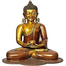 CraftVatika Large Antique Finish Brass Buddha Statue Big Buddhism Meditating Pose Sculpture Tibetan Feng Shui Home Yoga Decor