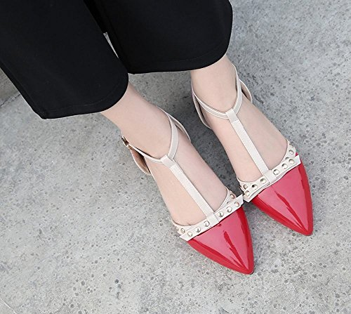Show Shine Womens Fashion Rivets Point Toe Buckles Flats Shoes Red snSs5FN3