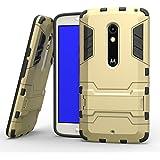Moto X Play Case, Pasonomi® [Kickstand Feature] Heavy Duty Hybrid Dual Layer Armor Defender Protective Case Cover for Motorola Moto X Play (Kickstand Series Golden)