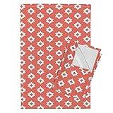Roostery Aztec Southwest Tribal Native Triangle Geometric Coral Tea Towels Aztec - Persimmon by Andrea Lauren Set of 2 Linen Cotton Tea Towels