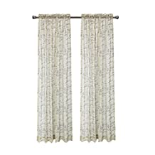 "CaliTime Window Curtains Panels 50"" X 45"", French Script Faux Linen Sheers, Taupe, Pack of 2"