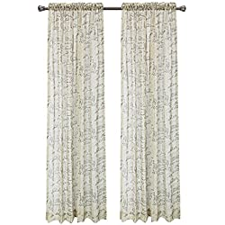"""Pack of 2, CaliTime French Script Faux Linen Soft Semi Sheers Rod Pocket Window Curtain Panels for Bedroom, 55"""" X 84"""", Taupe"""