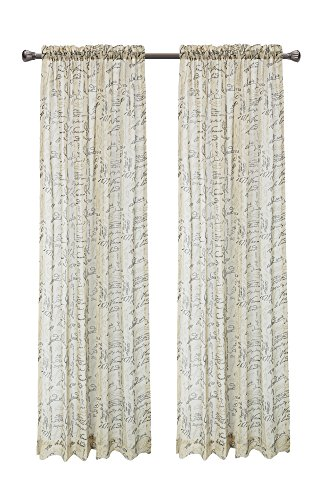 """Pack of 2, CaliTime French Script Faux Linen Soft Semi Sheers Rod Pocket Window Curtain Panels for Bedroom, 55"""" X 95"""", Taupe"""