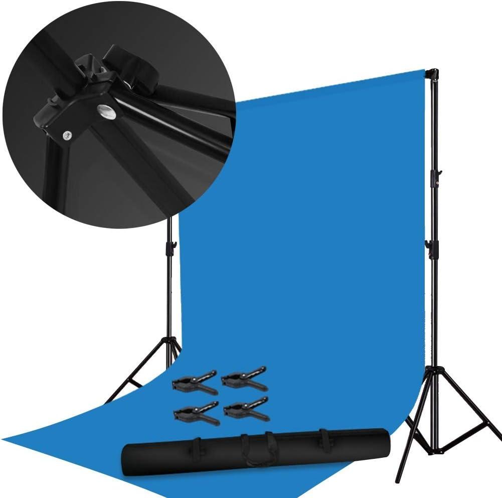 خلفيات لالتقاط الصور الخلفية للملابس استوديو التصوير 3 أقدام حامل تلسكوبي سهل التركيب في الهواء الطلق، 6 ألوان (اللون: أزرق، الحجم: 300 × 400 سم)