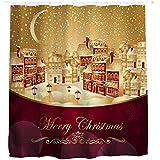 AutumnFall Winter Holiday Snowman Christmas Fabric Shower Curtain Digital Decor with Hooks (180cm180cm, F)