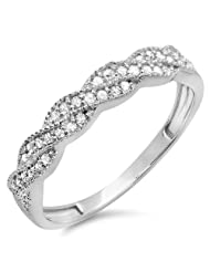 0.25 Carat (ctw) 10k Gold Round Diamond Ladies Anniversary Wedding Stackable Band Swirl Ring 1/4 CT