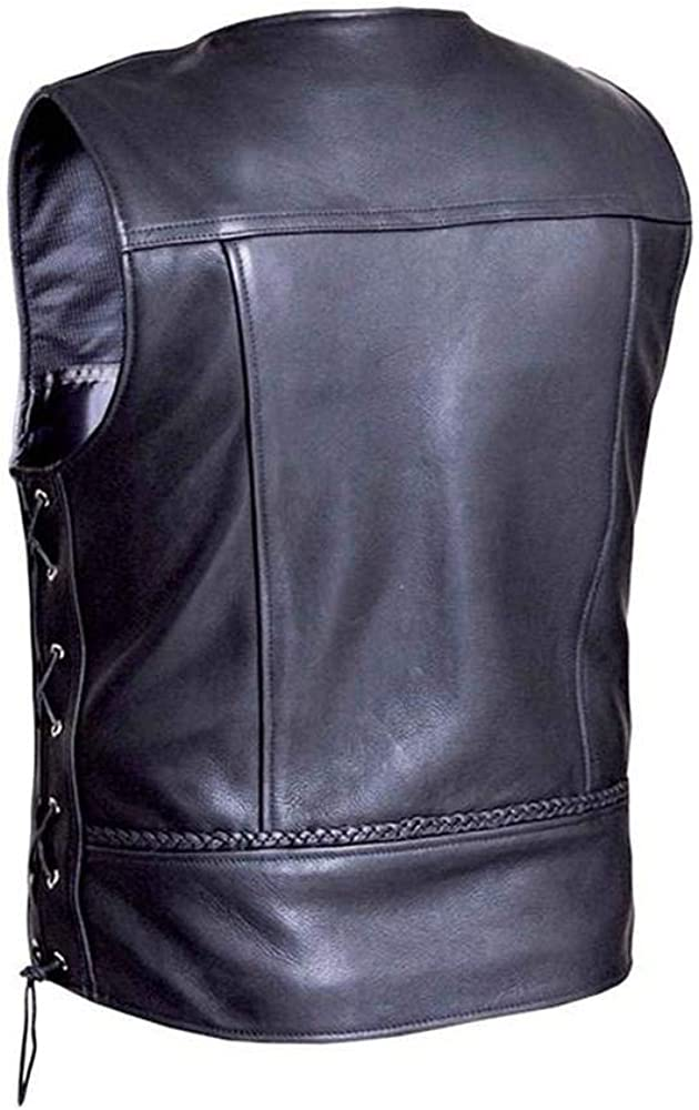 2XL Ultra Mens Braided Motorcycle Leather Vest,Black,Size