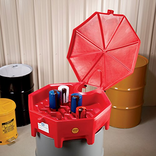 """New Pig Poly Drum Funnel with Hinged Lid, For 55 Gal Tight-Head Steel & Poly Drums, 29"""" Diam x 11"""" H, Red, DRM672-RD by New Pig Corporation (Image #4)"""
